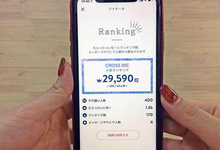 クロスミーの人気ランキングの画面