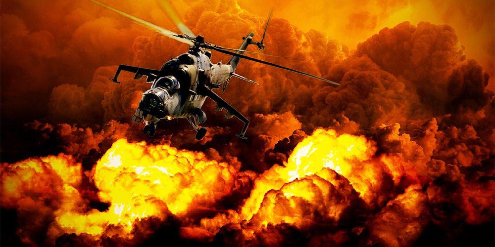 爆発を避けて飛ぶ戦闘機